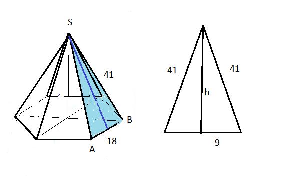 стороны основания правильной шестиугольной пирамиды равны 18 боковые ребра
