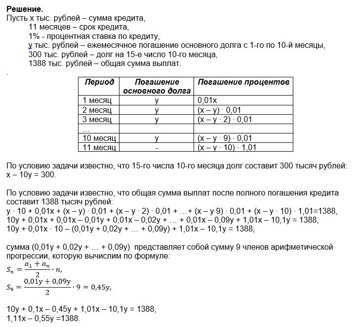 в июле планируется взять кредит в банке на сумму 100000 рублей на 2 года