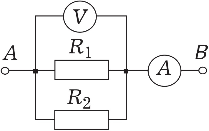 Идеальный амперметр в цепи схема которой изображена